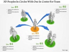 3d Peoples In Circles With One In Center For Team