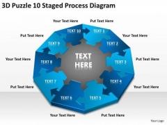 3d Puzzle 10 Staged Process Diagram Ppt Non Profit Business Plan Sample PowerPoint Slides