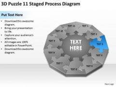 3d Puzzle 11 Staged Process Diagram Ppt Creating Business Plan Step By PowerPoint Slides