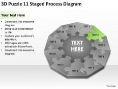 3d Puzzle 11 Staged Process Diagram Ppt Steps To Making Business Plan PowerPoint Templates