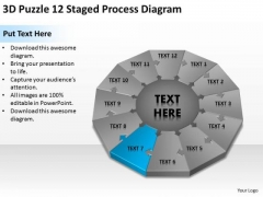 3d Puzzle 12 Staged Process Diagram Ppt Business Plan Format PowerPoint Templates