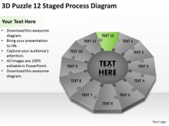 3d Puzzle 12 Staged Process Diagram Ppt Business Plan Guide PowerPoint Templates