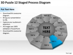 3d Puzzle 12 Staged Process Diagram Ppt Business Plan PowerPoint Templates