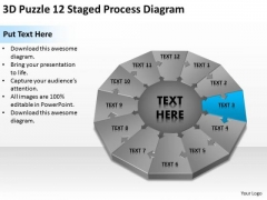 3d Puzzle 12 Staged Process Diagram Ppt Business Plan Professional Services PowerPoint Slides