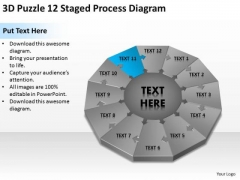 3d Puzzle 12 Staged Process Diagram Ppt Business Plan Writer PowerPoint Templates