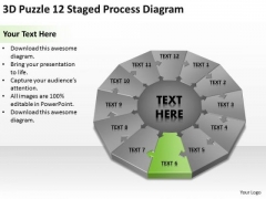3d Puzzle 12 Staged Process Diagram Ppt Download Business Plan PowerPoint Templates