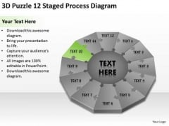 3d Puzzle 12 Staged Process Diagram Ppt How To Develop Business Plan PowerPoint Templates