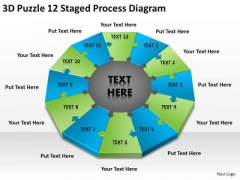 3d Puzzle 12 Staged Process Diagram Ppt It Business Plan Template PowerPoint Templates