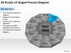 3d Puzzle 12 Staged Process Diagram Ppt Pharmacy Business Plan PowerPoint Slides