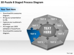 3d Puzzle 8 Staged Process Diagram Ppt Business Plan Company Description PowerPoint Slides