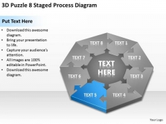 3d Puzzle 8 Staged Process Diagram Ppt Business Plan PowerPoint Template