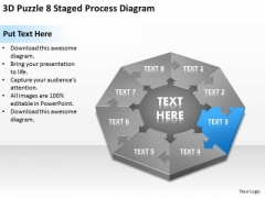 3d Puzzle 8 Staged Process Diagram Ppt Business Plan Worksheet PowerPoint Templates