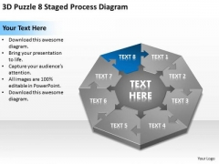 3d Puzzle 8 Staged Process Diagram Ppt Business Plans Samples PowerPoint Slides