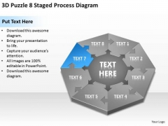 3d Puzzle 8 Staged Process Diagram Sample Business Proposal Outline PowerPoint Slides