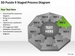 3d Puzzle 9 Staged Process Diagram Business Plan PowerPoint Templates