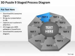 3d Puzzle 9 Staged Process Diagram Ppt Business Financial Planning PowerPoint Slides