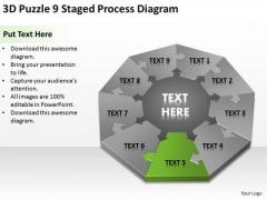3d Puzzle 9 Staged Process Diagram Ppt Business Plan PowerPoint Slides