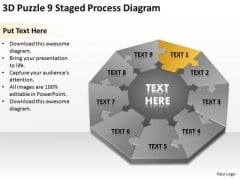 3d Puzzle 9 Staged Process Diagram Ppt Business Plan PowerPoint Templates