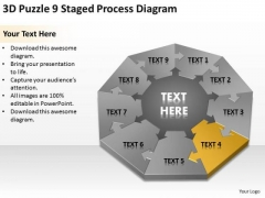 3d Puzzle 9 Staged Process Diagram Ppt Business Plan Wiki PowerPoint Slides