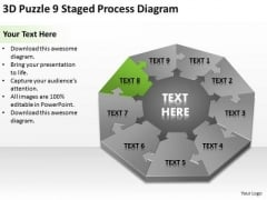 3d Puzzle 9 Staged Process Diagram Ppt Business Plan Writers For Hire PowerPoint Templates