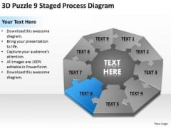 3d Puzzle 9 Staged Process Diagram Ppt Small Business Plans Template PowerPoint Templates