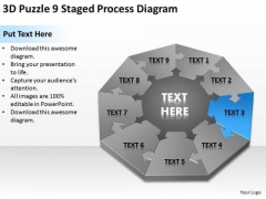 3d Puzzle 9 Staged Process Diagram Ppt Writing Good Business Plan PowerPoint Slides