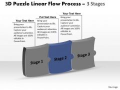 3d Puzzle Horizontal Implementation Process Stages Ppt Schematic Drawing PowerPoint Slides