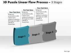 3d Puzzle Horizontal Implementation Process Stages Working Flow Chart PowerPoint Slides