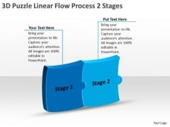 3d Puzzle Linear Flow Process 2 Stages Chart Business PowerPoint Slides