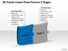 3d Puzzle Linear Flow Process 2 Stages Ppt Business To Strategies PowerPoint Slides
