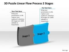 3d Puzzle Linear Flow Process 2 Stages Ppt Chart PowerPoint Templates