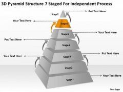 3d Pyramid Structre 7 Staged For Independent Process Ppt Business Plan Creator PowerPoint Slides