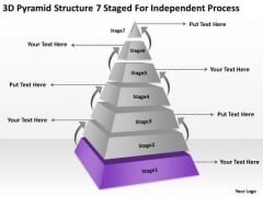 3d Pyramid Structre 7 Staged For Independent Process Ppt Business Plan PowerPoint Slides