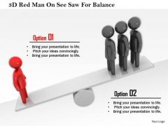 3d Red Man On See Saw For Balance