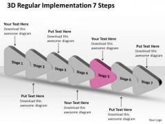3d Regular Implementation 7 Steps Flow Diagram PowerPoint Slides