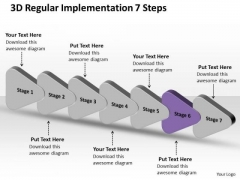 3d Regular Implementation 7 Steps Ppt Making Flowchart PowerPoint Slides