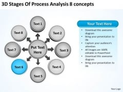 3d Stages Of Process Analysis 8 Concepts Circular Flow Chart PowerPoint Slides