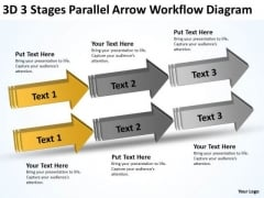 3d Stages Parallel Arrow Workflow Diagram Simple Business Plans PowerPoint Templates