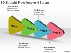 3d Straight Flow Arrows 4 Stages Flowchart PowerPoint Free Slides