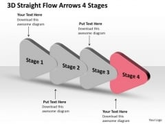 3d Straight Flow Arrows 4 Stages Make Chart PowerPoint Templates