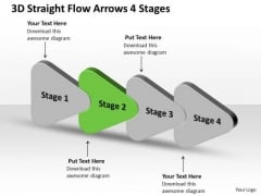 3d Straight Flow Arrows 4 Stages Ppt Chart Free PowerPoint Templates