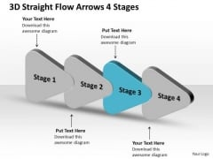 3d Straight Flow Arrows 4 Stages Ppt Work Process Chart PowerPoint Templates