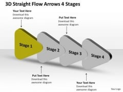 3d Straight Flow Arrows 4 Stages Production Chart PowerPoint Slides