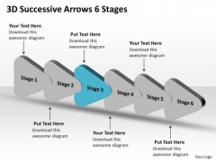 3d Successive Arrows 6 Stages Flow Chart Template PowerPoint Templates