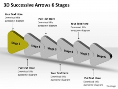 3d Successive Arrows 6 Stages Flowcharting PowerPoint Free Slides