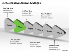 3d Successive Arrows 6 Stages Ppt Schematic Drawing Program PowerPoint Slides