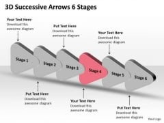 3d Successive Arrows 6 Stages Visio Templates PowerPoint Slides