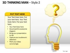 3d Thinking Man With Question Cloud PowerPoint Templates Question Ppt