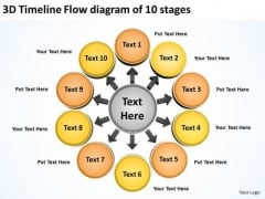 3d Timeline Flow Diagram Of 10 Stages Ppt Arrows Chart Software PowerPoint Templates