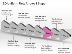 3d Uniform Flow Arrows 8 Steps Best Chart PowerPoint Slides
